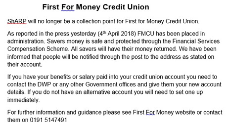 First for Money Credit Union - important information. ShARP will no longer be a collection point for First for Money Credit Union.