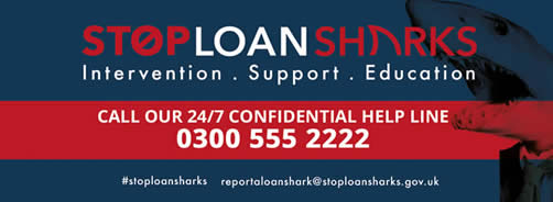 Illegal Money Lending Team Information. Stop Loan Sharks. Intervention. Support. Education. Call our 24/7  confidential help line - 0300 555 2222. #stoploansharks   reportaloanshark@stoploansharks.gov.uk