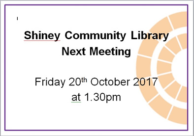 Shiney Community Library Meeting Poster October 20th 2017
