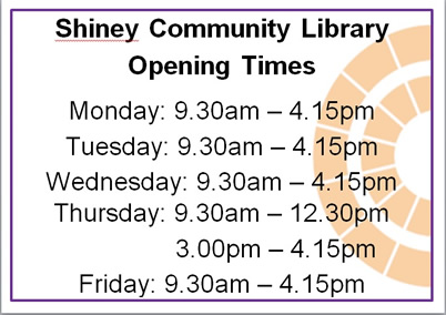 Shiney Community Library revised opening times