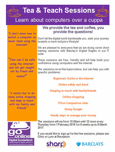 Tea and Teach Sessions poster - learn about computers over a cuppa